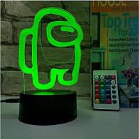3D Ночник Among Us Светильник Амонг Ас с Пультом Управления 16 цветов Лампа Амонг Ас Космонавт