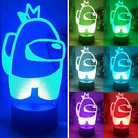 3D Ночник Among Us Светильник Амонг Ас с Пультом Управления 16 цветов Лампа Амонг Ас Космонавт с Короной
