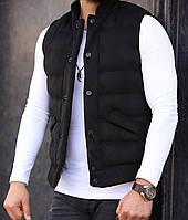 Мужская стильная жилетка черная