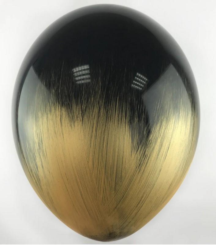В105 Браш черный с золотом 30 см. Шар воздушный латексный