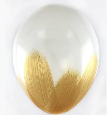 В105 Браш золото на белом 30 см. Шар воздушный латексный