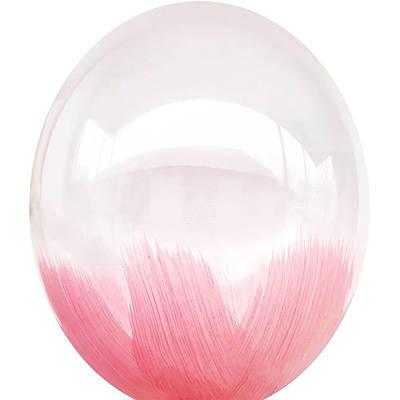 В105 Браш розовый на белом 30 см. Шар воздушный латексный