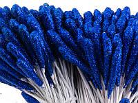 Тычинки большие длинные с блёстками на проволоке, длина 7 см, синие. Упаковка 10 шт.