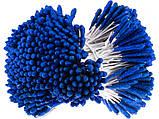 Тычинки большие длинные с блёстками на проволоке, длина 7 см, синие. Упаковка 10 шт., фото 2