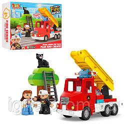 Конструктор JDLT 5421 (24шт) пожежо,машина,зв,св, фігурки, дерево,кіт,20дет,бат,в кор,32-28,5-9см