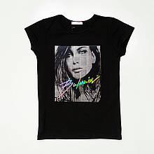 Черная стильная футболка для девочки SmileTime Shining Girl Balmain