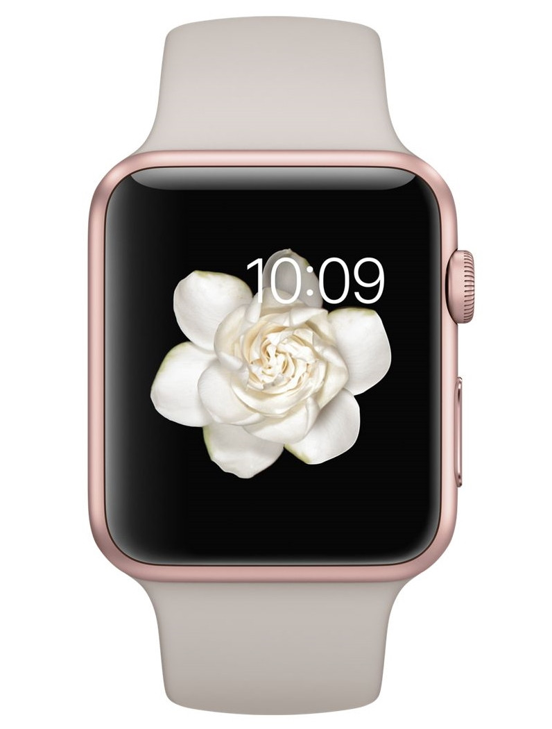 Apple 42mm Rose Gold Aluminum Case with Stone Sport Band (MLC62)