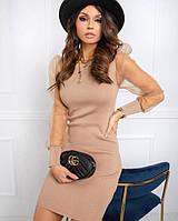 Женское стильное платье с рукавом сеткой