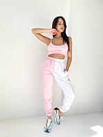Женский спортивный костюм топ и двухцветные штаны на манжете, фото 1