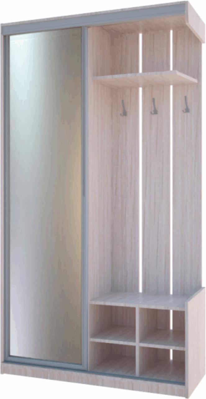 Прихожая City One Door 1200х450х2250 Зеркало Дуб молочный