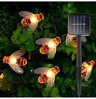 Уличная гирлянда на солнечной батарее Пчелка два режима  6.5 м  30 led ламп Садовая гирлянда