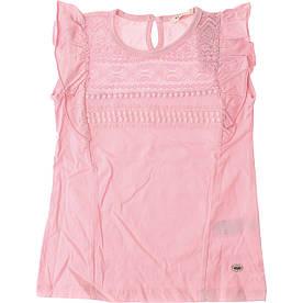 Нарядная майка - блуза с кружевом для девочки нежно розового цвета Breeze