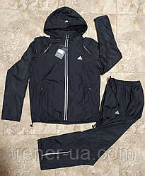 Костюм спортивний чорний/костюм в стилі Adidas з капюшоном/костюм балоньевый для бігу/костюм з плащової тканини