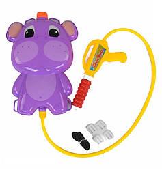 Водяной пистолет с рюкзаком Бегемот Фиолетовый водный насос для детей