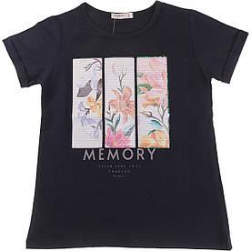 Стильная футболка с паетками для девочки темно-синяя Breeze