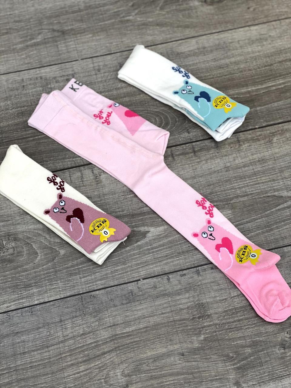 Колготи для немовлят бавовна KBS з Ведмедики для дівчат 0р 6 шт в уп мікс з 3х кольорів
