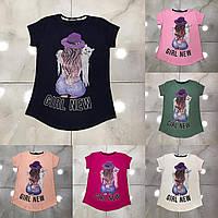 Подростковая футболка GIRL NEW для девочек 7-14 лет,цвет уточняйте при заказе, фото 1