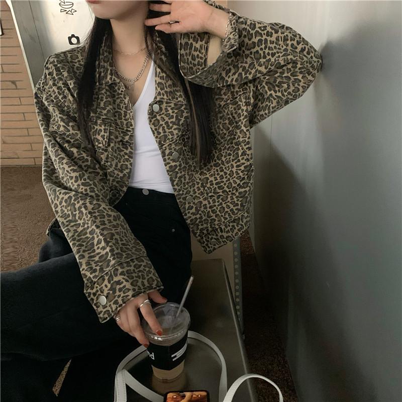 Укорочена леопардова джинсовці стильна 42-44 (в кольорах)