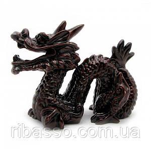 Дракон з рогом кам'яна крихта коричневий 8х10 см 21943