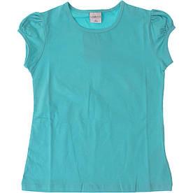 Однотонная футболка для девочек, бирюза