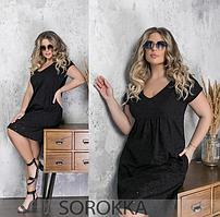 Женское платье свободного кроя чёрное 48-50,52-54