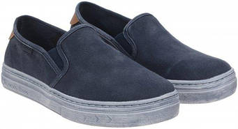 Летние синие туфли слипоны из текстиля Tesoro 197057/05-02