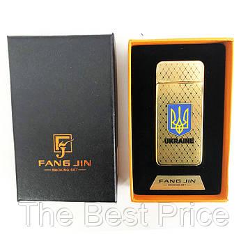 USB запальничка Герб України FANG JIN 4797 Original (Двостороння спіраль розжарювання) в подарунковій упаковці