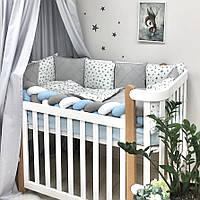 Комплект постельного белья из 6 предметов Happy night Звезда серая