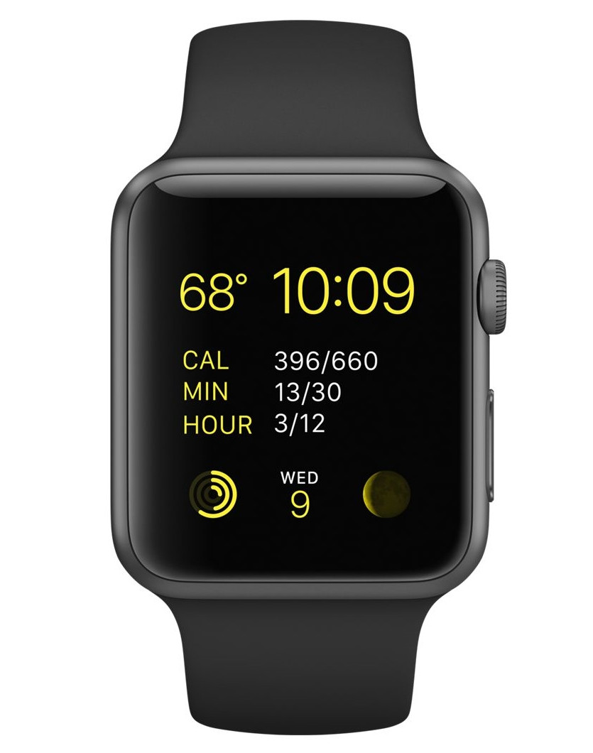 Apple 42mm Space Gray Aluminum Case with Black Sport Band (MJ3T2)