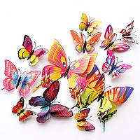 """3D бабочки для декора двойные - 12 шт. Наклейки-бабочки на стену """"Разноцветные""""."""