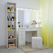 Стол для визажиста с гримерным зеркалом c ящиками, гримерный стол, цвет - белый