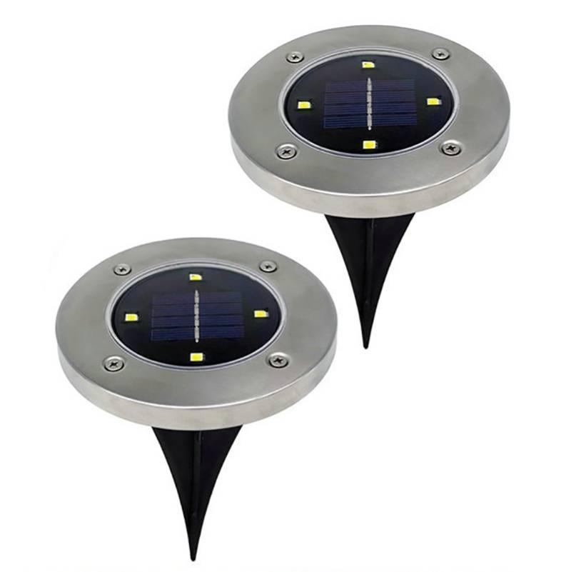 Газонная подсветка на солнечной батарее (В комплекте 2 шт) SOLAR DISK LIGHTS / ART-0243