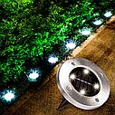 Газонная подсветка на солнечной батарее (В комплекте 2 шт) SOLAR DISK LIGHTS / ART-0243, фото 5