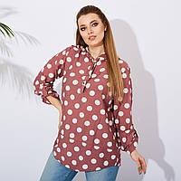 Рубашка женская с капюшоном в горох батал Фрез