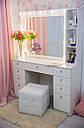 Стол для визажиста, гримерный столик, зеркало с подсветкой, белый, фото 3