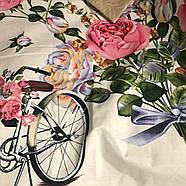 """Сімейний комплект (Бязь)   Постільна білизна від виробника """"Королева Ночі""""   Квіти, велосипеди на молочному, фото 2"""
