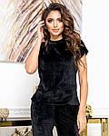 Жіноча піжама - трійка, плюш - велюр, р-р 42-44; 46-48; 50-52; 54-56 (чорний), фото 2