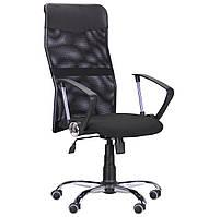 Кресло Ultra Хром сиденье А-1/спинка Сетка черная, вставка Скаден черный БЕСПЛАТНАЯ ДОСТАВКА !