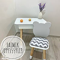 Детский столик с пеналом и стульчик Мишка (детский стульчик, детская мебель)