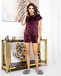 Женская пижама - тройка, плюш - велюр, р-р 42-44; 46-48; 50-52; 54-56 (бордовый), фото 3
