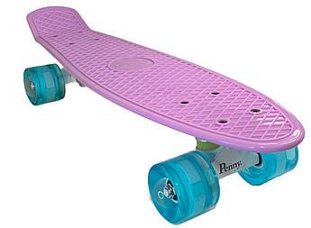 Класичний пенніборд для дівчат (Penny Board) з підсвічуванням коліс серії Pastel Пурпурний колір