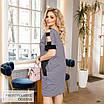 Сукня короткий рукав літній принт трикотаж + еко-шкіра 50-52,54-56,58-60,62-64, фото 2