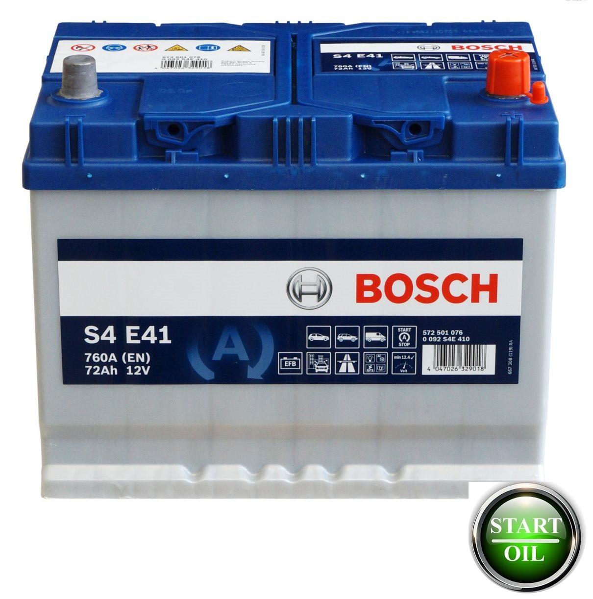 Акумулятор BOSCH EFB 72Ah 760 (S4 E41) R+ 0092S4E410