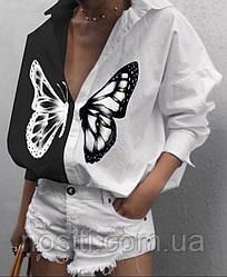 Жіноча двостороння сорочка з принтом метелик