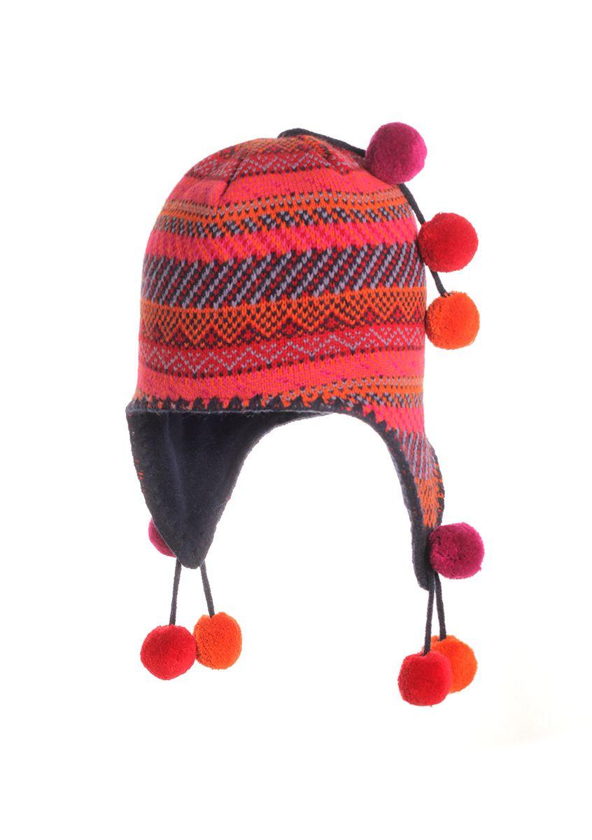 Утепленная флисом зимняя детская шапочка с разноцветными помпонами