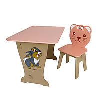 Детский стол! Столик парта , рисунок зайчик, стульчик детский фигурный