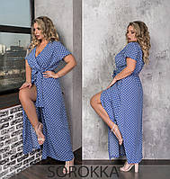 Женское длинное летнее платье-халат в горошек,джинс 50-52; 54-56