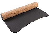 Коврик World Sport для йоги и фитнеса TPE, пробка 183х61 см ,чехол в подарок, фото 2