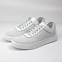 Белые женские кроссовки с перфорацией модные кожаная обувь летняя Rosso Avangard Mozza White Perf ALL