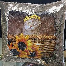 Подушка з паєтками з вашим фото, фото 3